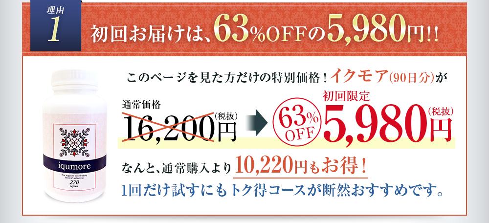 理由1 初回お届けは63%OFFの5,980円!!/このページを見た方だけの特別価格!イクモア(90日)が/初回限定63%OFFの5,980円/なんと、通常購入より10,220円もお得!/1回だけ試すにもトク得コースが断然おすすめです。