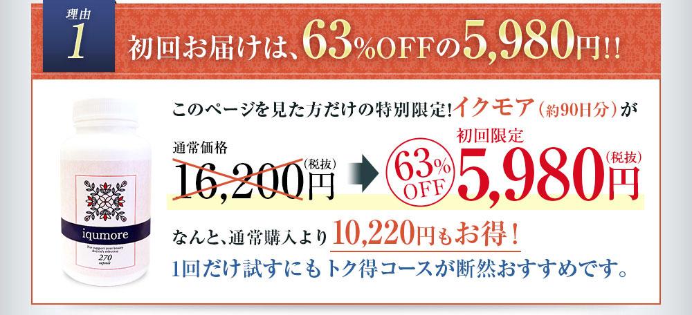理由1 初回お届けは63%OFFの5980円